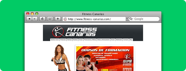 Fitness Canarias. Front-end para Abanico Networks